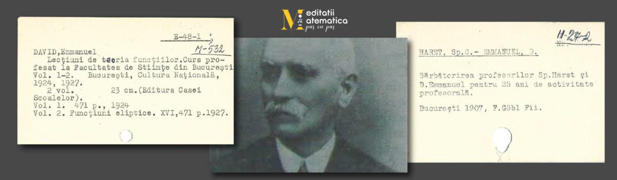 David Emmanuel- unul dintre cei mai importanți matematicieni români